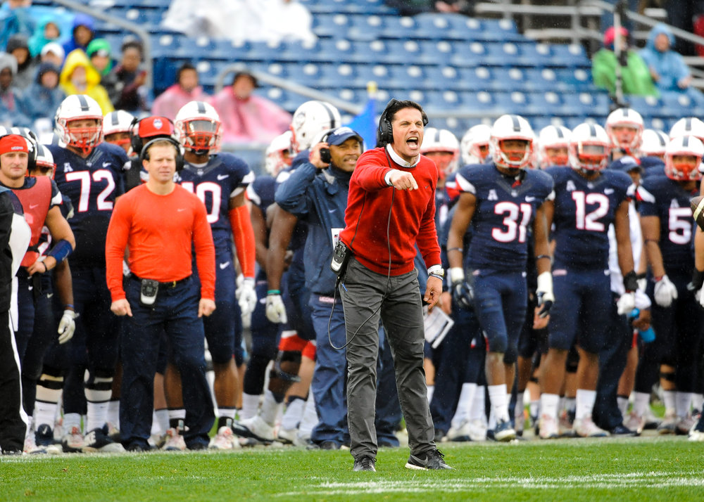 UConn head coach Bob Diaco looks on during a 2016 home game at Pratt & Whitney Stadium at Rentschler Field. (Jason Jiang/ The Daily Campus)