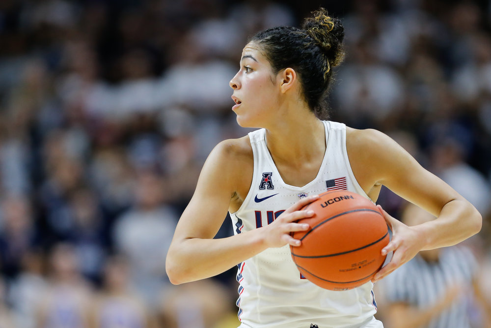 UConn's Kia Nurse holds the ball in the Huskies' 72-61 win over Baylor on Nov. 17, 2016 at Gampel Pavilion (Tyler Benton/The Daily Campus)