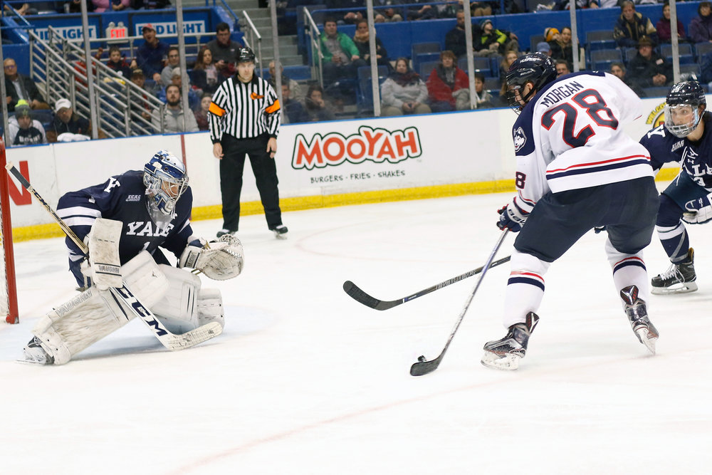 Graduate transfer Brian Morgan shoots the puck in the Huskies' 4-2 loss to Yale on Saturday, Jan. 7, 2017 at the XL Center. (Ian Bethune/The UConn Blog)