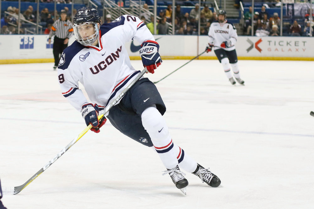 Tage Thompson skates in the Huskies' 4-2 loss to Yale on Jan. 7, 2017 at the XL Center. (Ian Bethune/The UConn Blog)