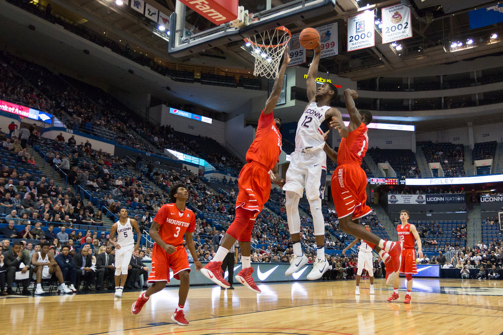 UConn forward Kentan Facey attempts to dunk during a 62-46 loss to Houston on Dec. 28 at the XL Center in Hartford. (Tyler Benton, Staff Photographer/The Daily Campus)
