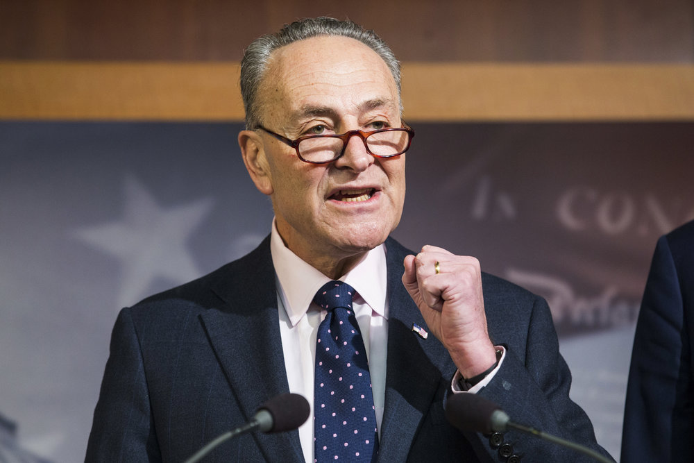 In this Jan. 5, 2017, photo, Senate Minority Leader Charles Schumer speaks during a news conference on Capitol Hill in Washington. According to opinion editor Chris Sacco, Democrats must make sure that, like every building he has every purchased, all of Trump's actions have his name emblazoned upon them in blatant type. (AP Photo/Zach Gibson, File)
