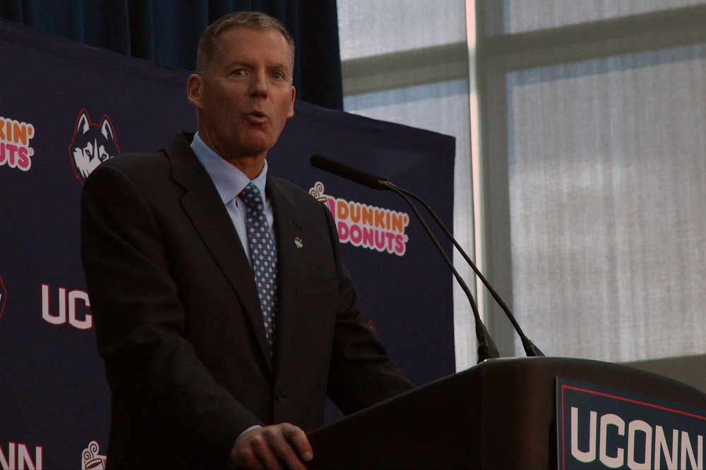 Randy Edsall speaks at his introductory press conference at Pratt & Whitney Stadium at Rentschler Field on Dec. 30, 2016. (Ian Bethune/The UConn Blog)