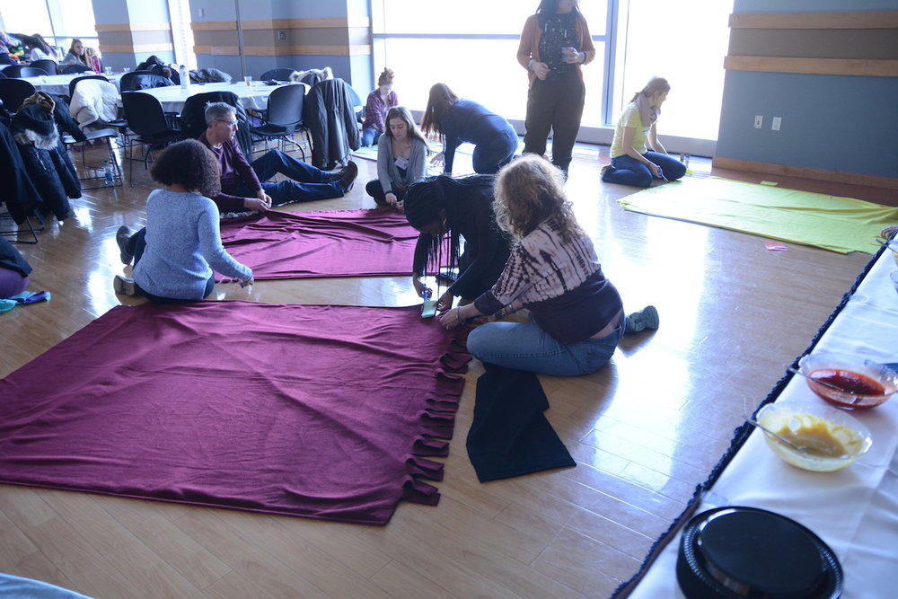 UConn Community Outreach arranged a day of service in honor of Martin Luther King Jr. for hundreds of volunteers to observe the holiday and many constructed blankets for local homeless shelters. (Francesca Colturi, Assoc. Life Editor)