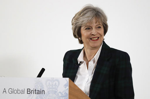 Britain's Prime Minister Theresa May smiles after she delivers a speech on leaving the European Union at Lancaster House in London, Tuesday, Jan. 17, 2017. (Kirsty Wigglesworth/AP)