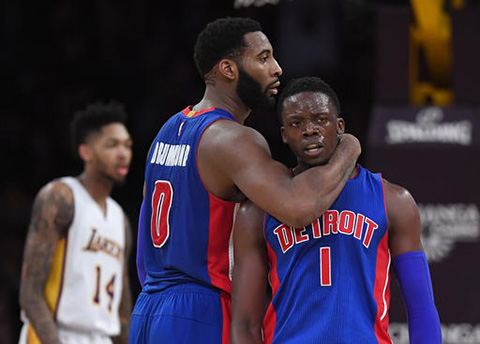 Detroit Pistons guard Reggie Jackson, of Italy, gets a hug from center Andre Drummond, center, after scoring as Los Angeles Lakers forward Brandon Ingram stands in the background during the second half of an NBA basketball game, Sunday, Jan. 15, 2017, in Los Angeles. The Pistons won 102-97. (Mark J. Terrill/AP)