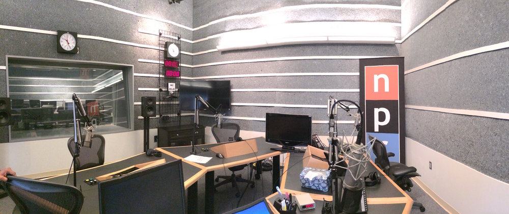Studio B at NPR West in Culver City, CA on Sept. 8, 2014. Podcasts are a popular source of motivation and inspiration, as well as an easy way to learn new things about the world. (The Mitzikin Revolution/Creative Commons)