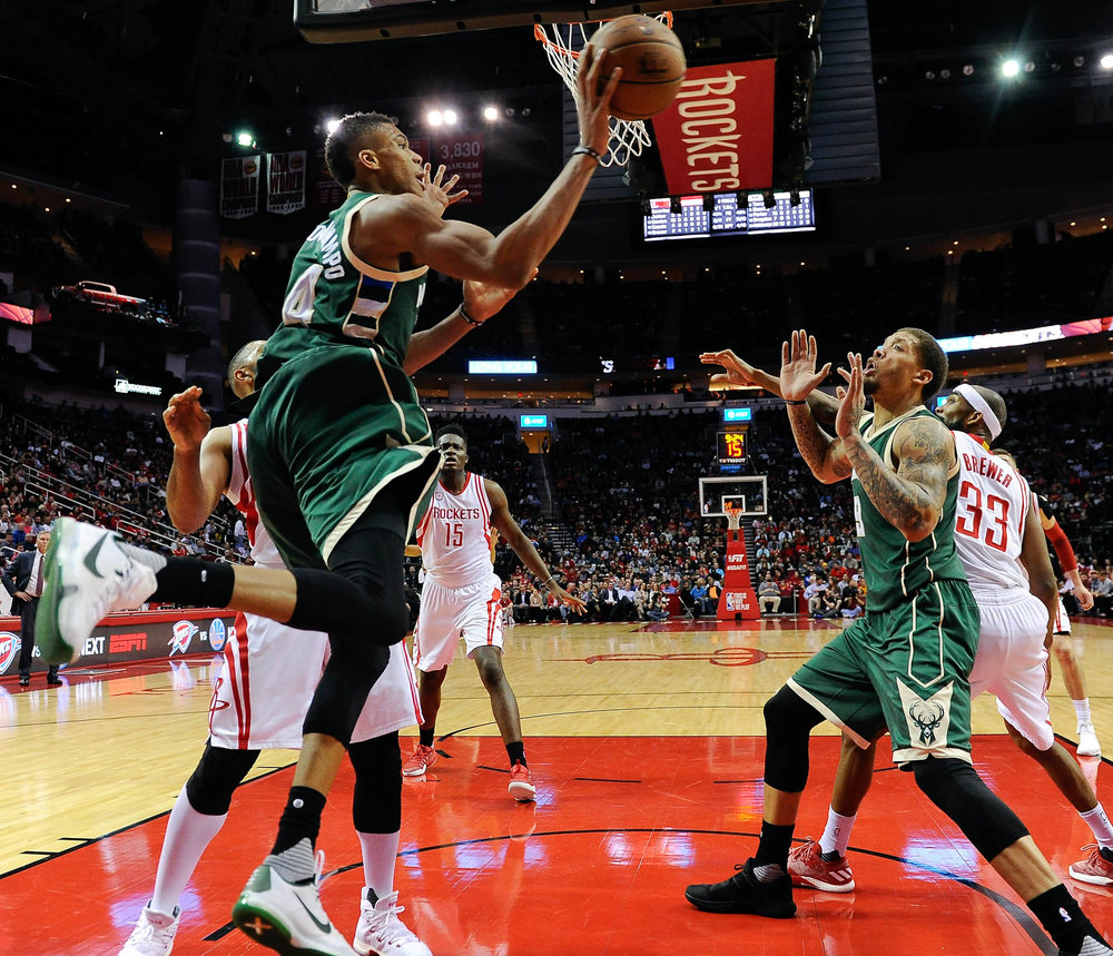 Milwaukee Bucks forward Giannis Antetokounmpo passes the ball during the second half of the team's NBA basketball game against the Houston Rockets, Wednesday, Jan. 18, 2017, in Houston. Houston won the game 111-92. (Eric Christian Smith/AP)