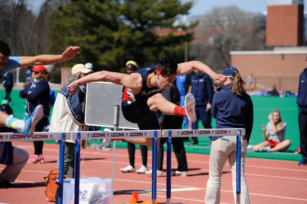 UConn hurdlers participate in the 2016 Husky Invitational on April 16, 2016 at the Sherman Family Sports Complex. (Jason Jiang/The Daily Campus)