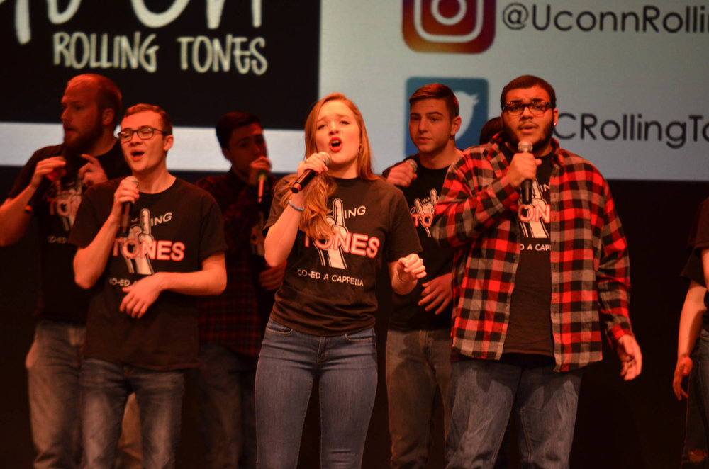Co-ed a capella group The Rolling Tones performed their remix of popular Fall Out Boy and Panic! at the Disco. (Akshara Thejaswi/The Daily Campus)