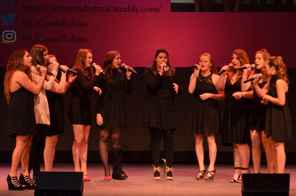 All-female a capella group Rubyfruit performs songs by Hundred Water and Lake Street Dive. (Akshara Thejaswi/The Daily Campus)