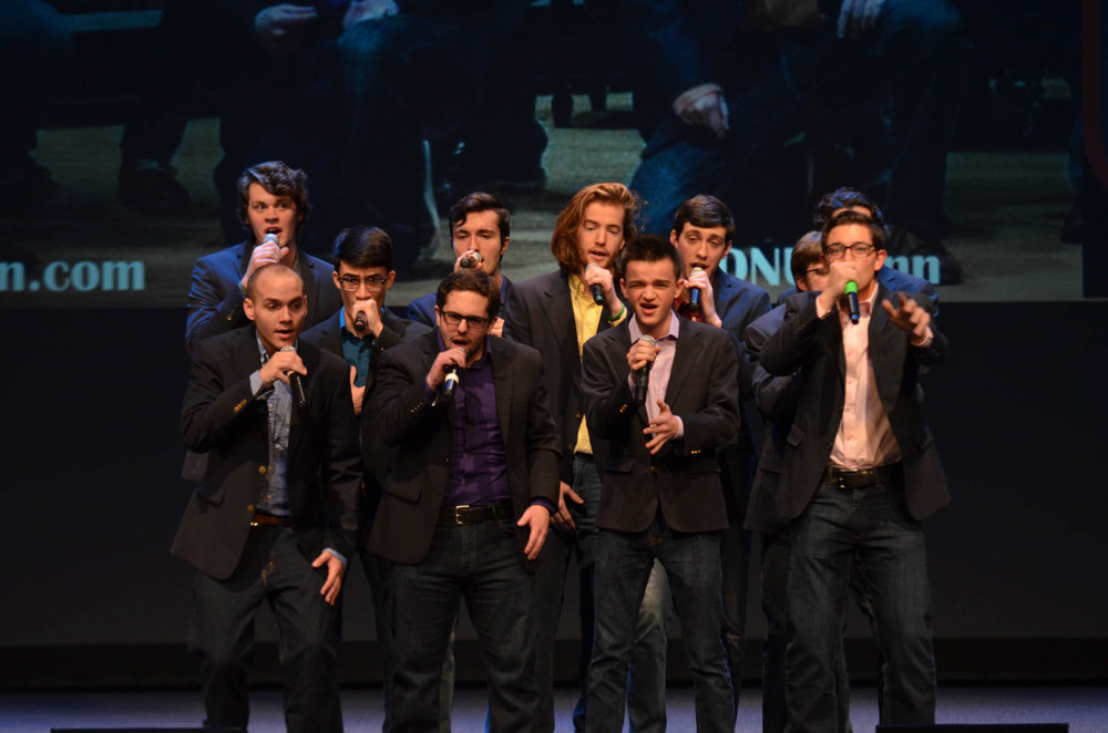 All-male a capella group A Completely Different Note drives the crowd wild with energetic renditions of songs by Maroon 5 and Billy Joel. (Akshara Thejaswi/The Daily Campus)