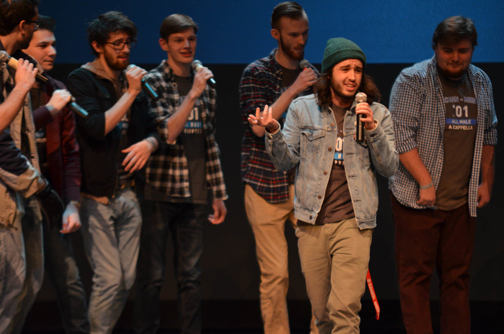 All-male a capella group Conn Men excites the crowd with remixes of popular songs by the Backstreet Boys and Boyz II Men. (Akshara Thejaswi/The Daily Campus)