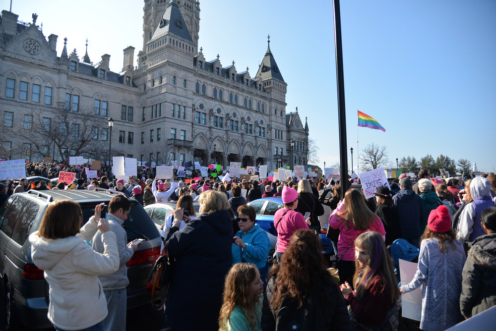 "Thousands of Connecticut citizens marched on the State Capitol to protest Trump's stance on women's rights during the ""Women's March on Hartford, CT: In Solidarity with Washington"" on Saturday, Jan. 21, 2016. (Amar Batra/The Daily Campus)"