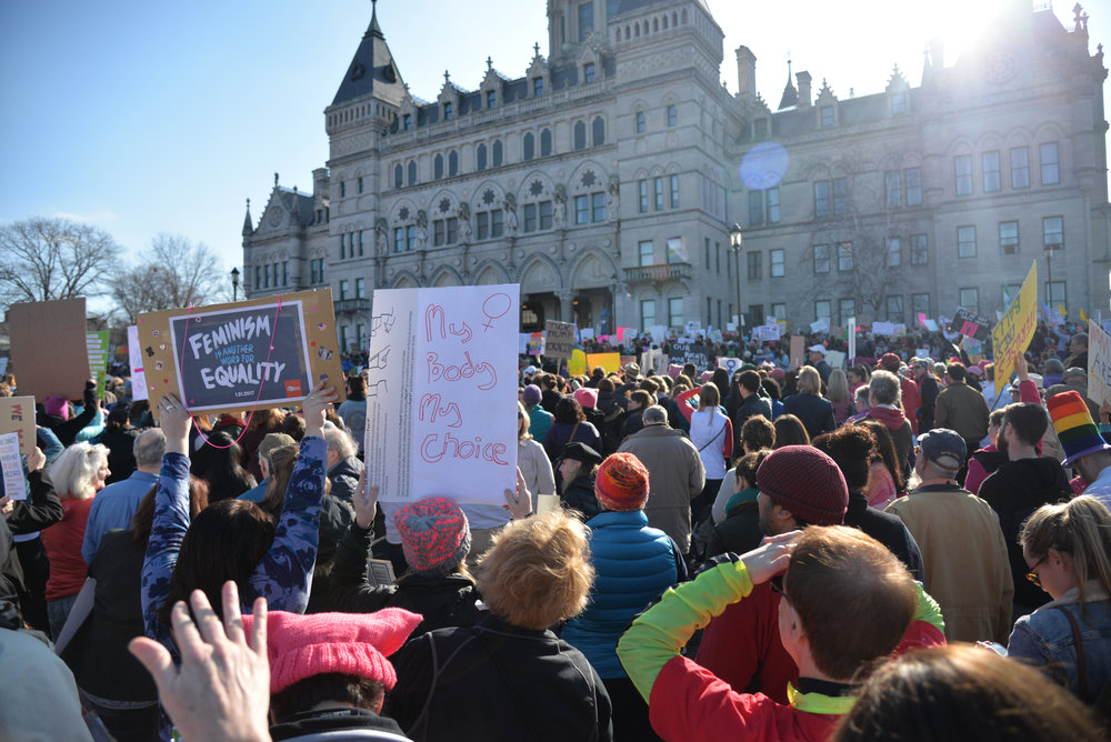 "Gov. Dan Malloy addresses attendees during the ""Women's March on Hartford, CT: In Solidarity with Washington"" on Saturday, Jan. 21, 2016. (Amar Batra/The Daily Campus)"