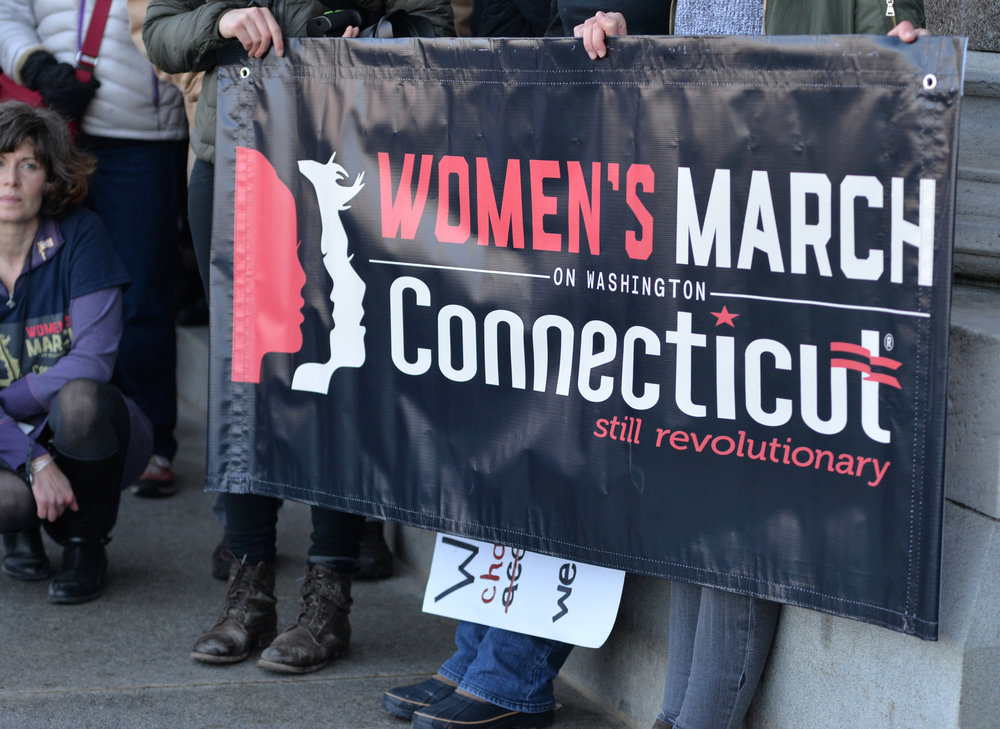 "Thousands of Connecticut citizens marched on the State Capitol to protest Trump's stance on women's and minorities rights during the ""Women's March on Hartford, CT: In Solidarity with Washington"" on Saturday, Jan. 21, 2016. (Amar Batra/The Daily Campus)"