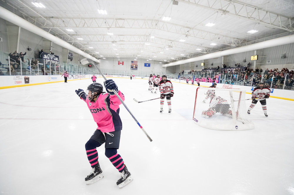 A player from the UConn Huskies Women's Hockey team celebrates after scoring a goal. The UConn Huskies lost 3-2 to the Northeastern Huskies in the Freitas Ice Forum in Storrs, CT on Friday, Jan 20, 2017. (Owen Bonaventura/The Daily Campus)