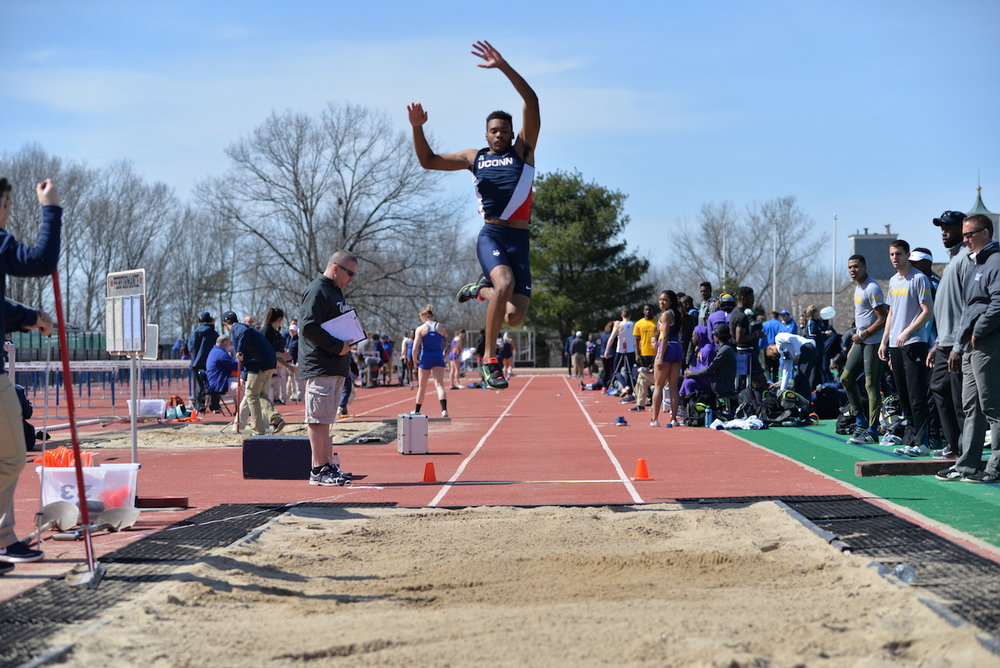 In a photo from a meeting in April of 2016, the track team competes in an event during the Spring portion of last year's schedule. (Amar Batra/The Daily Campus)