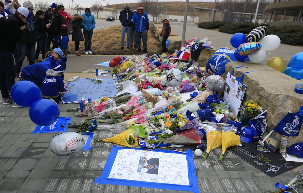 Fans create a memorial for Kansas City Royals baseball pitcher Yordano Ventura outside Kauffman Stadium in Kansas City, Mo., Sunday, Jan. 22, 2017. Ventura died Sunday in a car crash on a stretch of highway near the town of San Adrian in his native Dominican Republic. He was 25. (Orrin Wagner/AP)