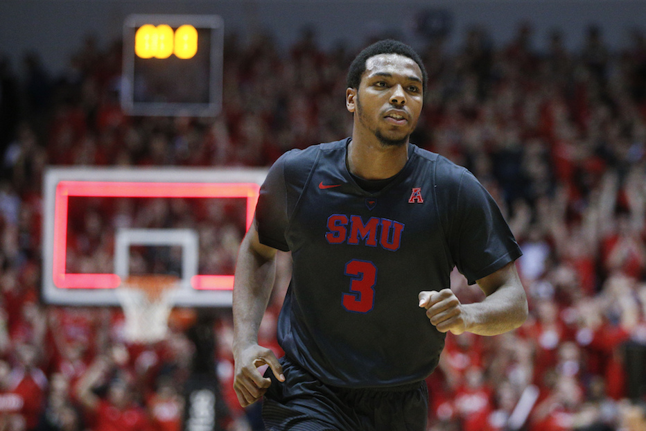 SMU's Sterling Brown (3) runs up the court after missing the final shot in the last second of an NCAA college basketball game against Cincinnati, Thursday, Jan. 12, 2017, in Cincinnati. Cincinnati won 66-64. (John Minchillo/AP Photo)