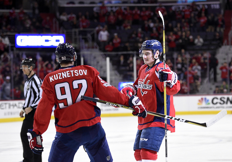 Washington Capitals defenseman Dmitry Orlov, right, of Russia, celebrates his goal with center Evgeny Kuznetsov (92), of Russia, during the first period of an NHL hockey game against the Carolina Hurricanes, Monday, Jan. 23, 2017, in Washington. (Nick Wass/AP)