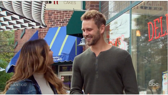 Nick and Danielle L. ran into one of Nick's ex-girlfriend's on last night's episode. (Screenshot/ABC)