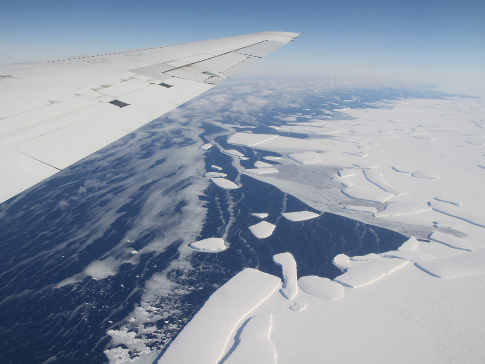 This image was taken during the 2012 Antarctic campaign of NASA's Operation IceBridge, a mission that provided data for the new ice shelf study.  The Delaware sized iceberg piece, Larsen C ice-shelf, was reported on Friday.  (NASA Goddard Space Flight Center/Flickr CREATIVE COMMONS)