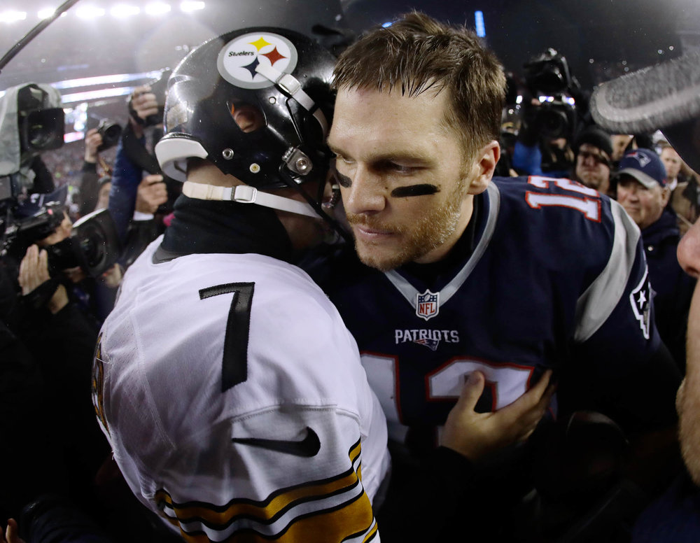 Pittsburgh Steelers quarterback Ben Roethlisberger (7) talks to New England Patriots quarterback Tom Brady (12) after the AFC championship NFL football game, Sunday, Jan. 22, 2017, in Foxborough, Mass. The Patriots won 36-17 to advance to the Super Bowl. (Matt Slocum/AP)