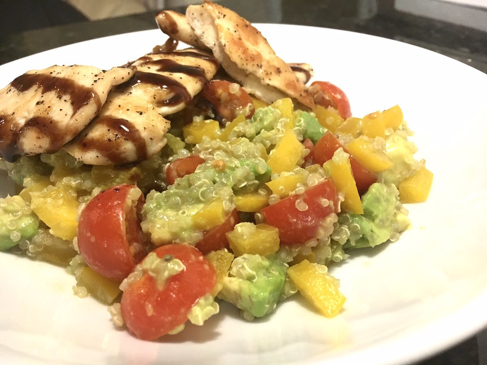 Grilled chicken with a side of quinoa is a healthier alternative to salty take out. (Jacqueline Devine/The Daily Campus)