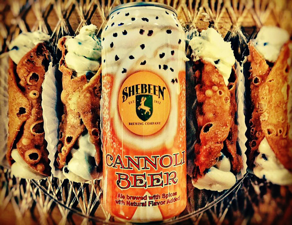 Shebeen Brewing Company, located in Wolcott, CT, is home to the Cannoli Beer. Each can is dressed up in a plastic jacket designed to look like a big cannoli with powdered sugar and shaved chocolate on top. (courtesy of Shebeen Brewing Company)