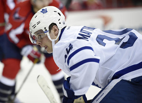 In this Tuesday, Jan. 3, 2017, photo, Toronto Maple Leafs center Auston Matthews (34) looks on during a faceoff in the second period of an NHL hockey game against the Washington Capitals in Washington. Rookies Auston Matthews and Patrik Laine were among the 40 players selected Tuesday, Jan. 10, 2017, for the NHL's All Star game. (Nick Wass/AP)