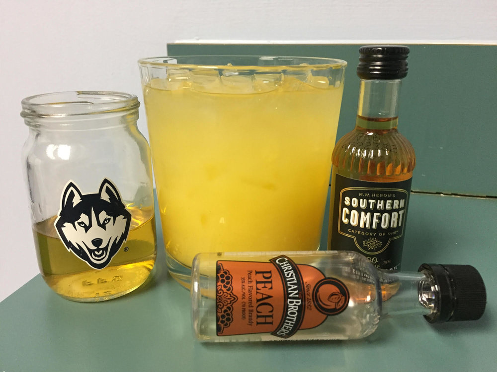The Daily Campus' associate life editor put created a new Drink of the Week: Florida-Georgia Line. Hopefully this sunny cocktail brings you some southern comfort. (Photo by Francesca Colturi)