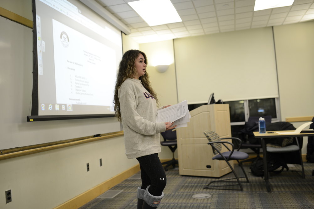 Nutmeg publishing business manager, Lindsey Rodrigues talks about budget during weekly meeting on Jan 24, 2017. The publishing company is asking for a $2 fee increase for the fall of 2019. (Jason Jiang/The Daily Campus)