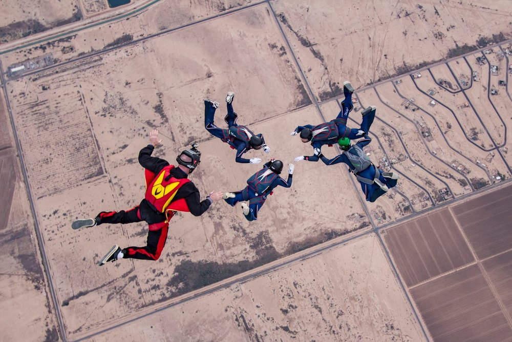 Members of the UConn Skydiving club won gold medals at the USPA National Collegiate Competition in Eloy, AZ over winter break. (Image courtesy of UConn Skydiving)