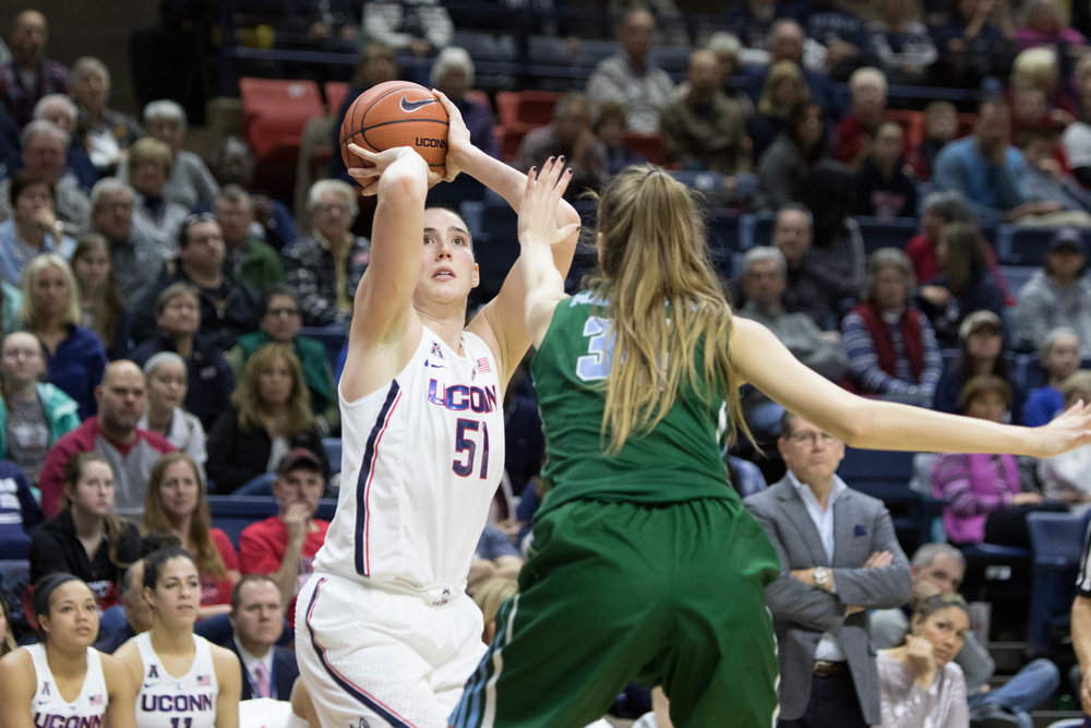 Natalie Butler prefers to shoot a basket during women's victory over 100-56 Tulane at Gampel Pavilion on Sunday, Jan. 22, 2016. (Jackson Haigis/The Daily Campus)