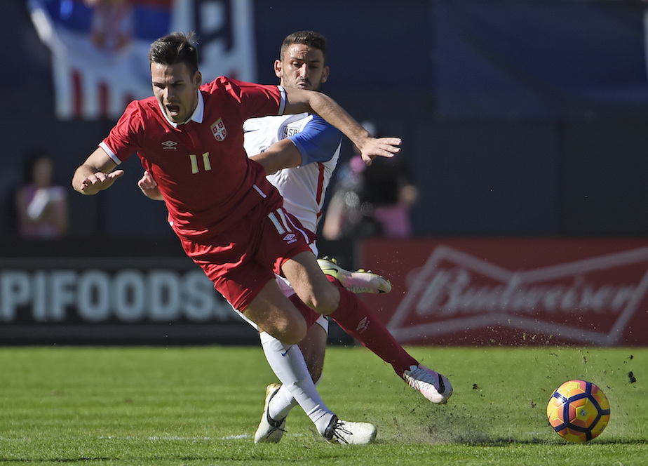 Serbia's Marko Gobeljic (11) fights for the ball with United States' Steve Birnbaum (15) during a friendly soccermatch Sunday, Jan. 29, 2017 in San Diego. (AP Photo/Denis Poroy)