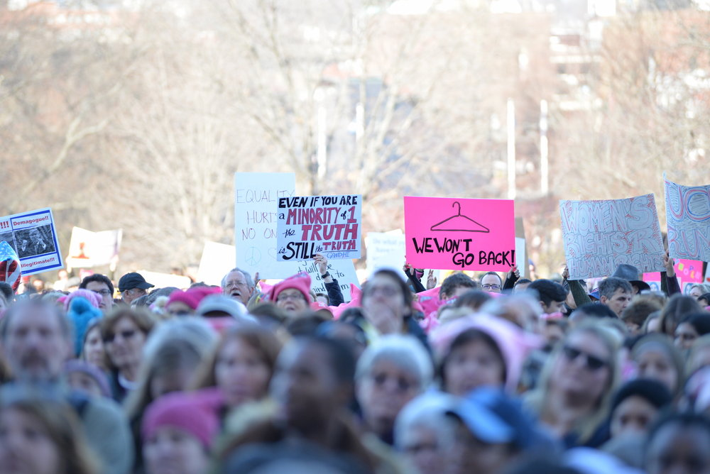 Thousands of Connecticut citizens marched on the State Capitol to protest Trump's stance on women's rights during the Women's March on Hartford, CT: in solidarity with Washington on Saturday, Jan. 21, 2016. (Amar Batra/The Daily Campus)