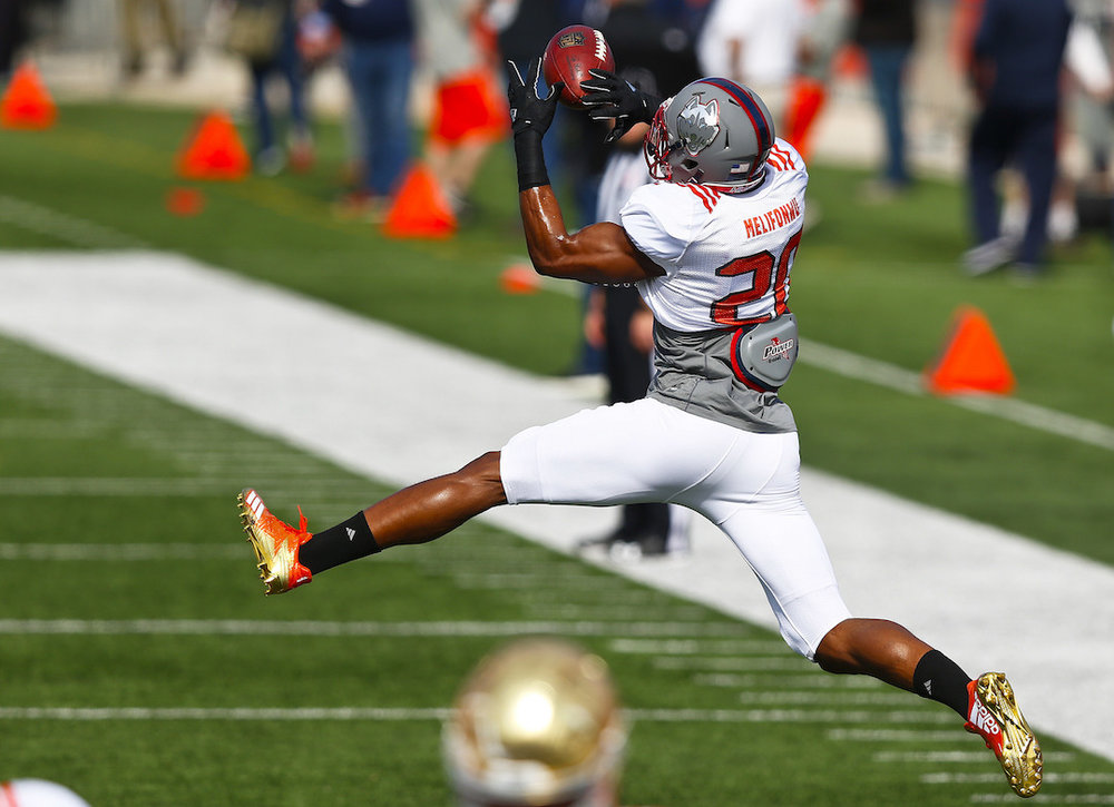 Connecticut's Obi Melifonwu practices for Saturday's Senior Bowl college football game in Mobile, Ala., Thursday, Jan. 26, 2017. (AP Photo/Brynn Anderson)