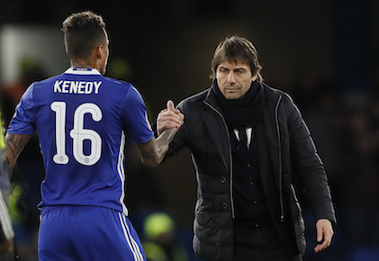 Chelsea's manager Antonio Conte, right, shakes hands with Chelsea's Kenedy after the English FA Cup soccer match between Chelsea and Brentford at Stamford Bridge stadium in London, Saturday, Jan. 28, 2017. Chelsea won the match 4-0. (AP Photo/Kirsty Wigglesworth)