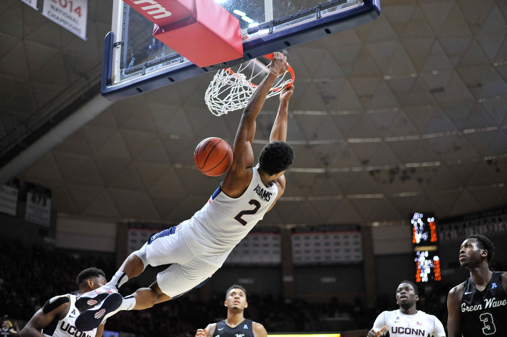 Sophomore guard Jalen Adams (2) dunks on Tulane during the Huskies 78-68 on Saturday, jan. 8, 2016 in Gampel Pavilion. (Jason Jiang/The Daily Campus)