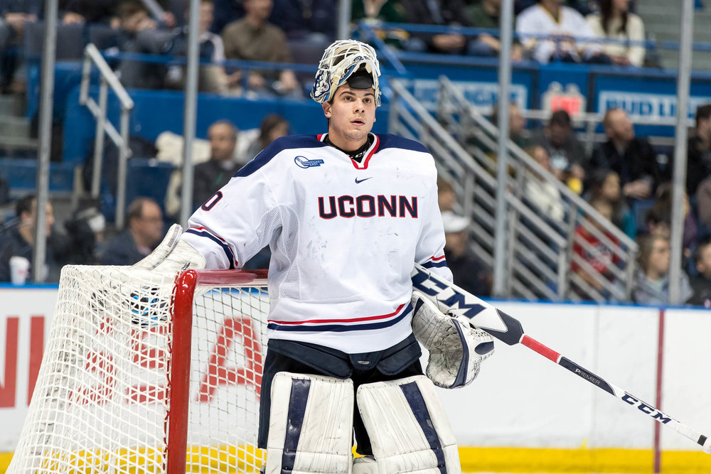 Freshman goalie Adam Huska isn one of three Huskies named as canditates for the Hobey Baker Award on Tuesday, Jan. 21, 2016. (Owen Bonaventura/The Daily Campus)