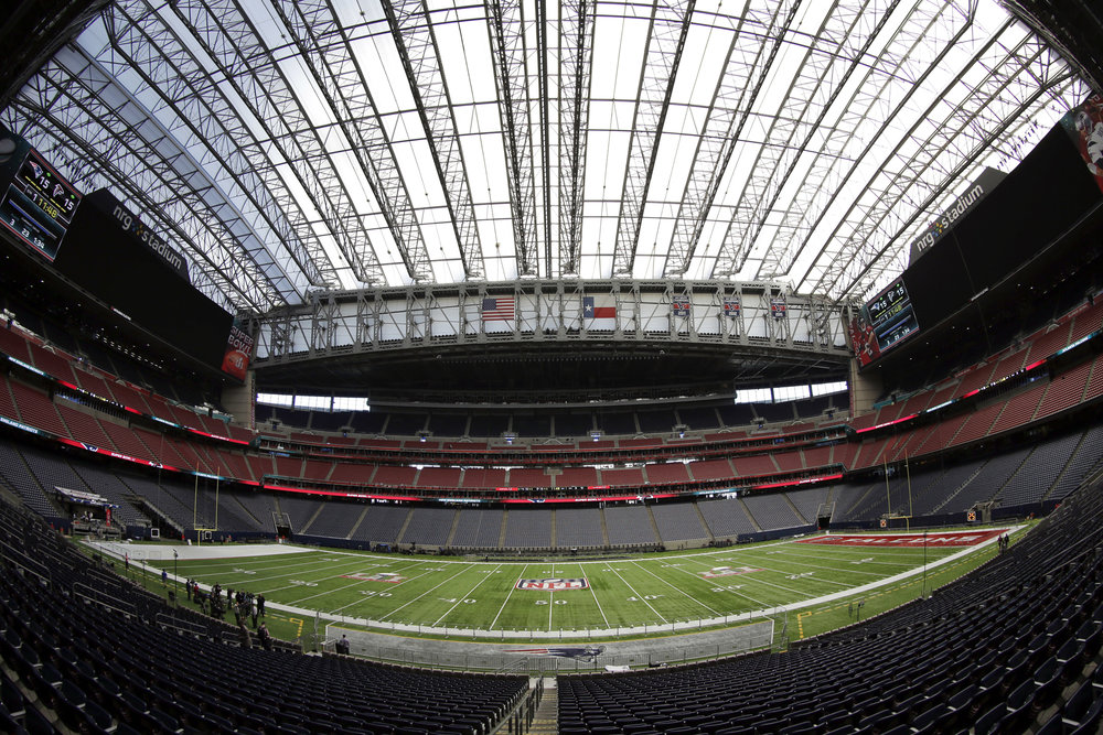 The field at NRG Stadium is prepared for the NFL Super Bowl 51 football game Tuesday, Jan. 31, 2017, in Houston. The New England Patriots will play the Atlanta Falcons in Super Bowl 51 Sunday, Feb. 5, 2017. (David J. Phillip/AP)