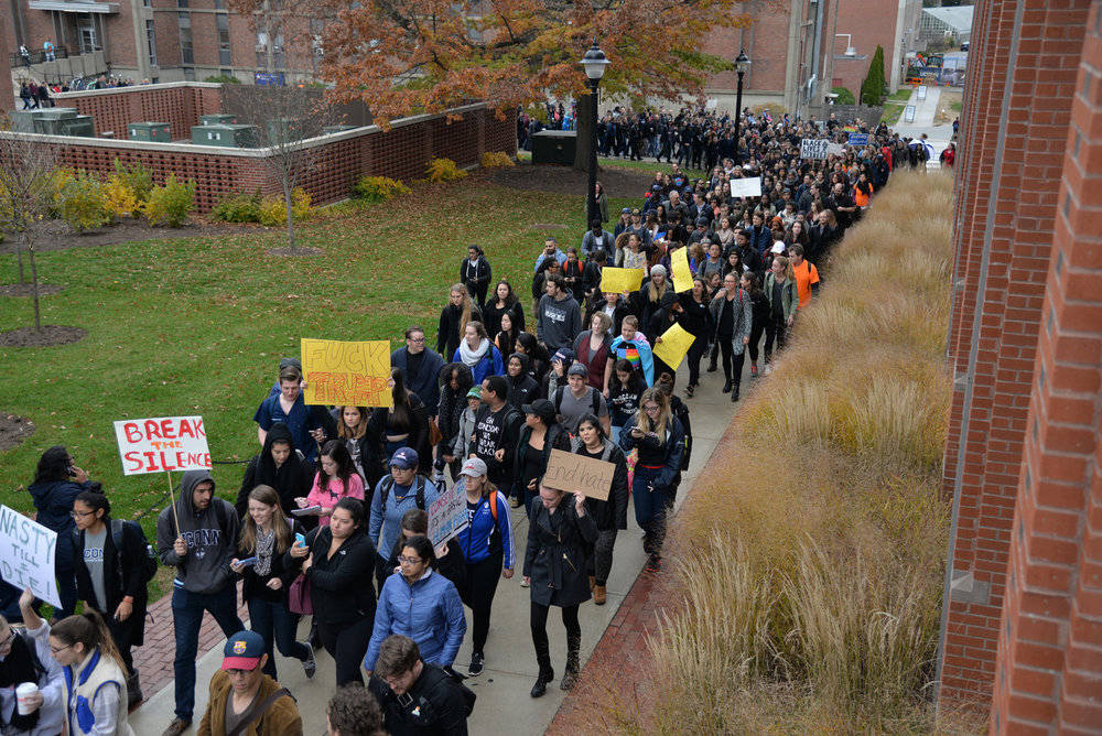 "Students participate in the ""Rally for the People"" to protest the election results on Wednesday, Nov. 9, 2016. ""Most encouraging, to me at least, regarding the recent Buy or Sell renaissance sparked by Trump, which brought racists out of the woodwork not only in Storrs, but all over the country, is the minority students who have used the group as a platform to speak out against xenophobia and bigotry,"" writes Sten Spinella. (Amar Batra/The Daily Campus)"