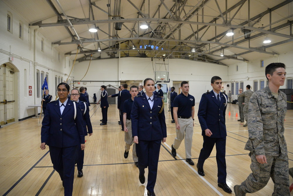 UConn ROTC students practice for field marching in the Hawly Armoury on Thursday, Jan. 26, 2017. In the coming weeks ROTC members will start marching in uniform across campus to class. (Amar Batra/The Daily Campus)