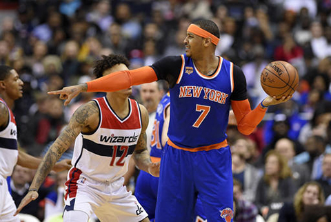 New York Knicks forward Carmelo Anthony (7) points as he holds the ball against Washington Wizards forward Kelly Oubre Jr. (12) during the second half of an NBA basketball game, Tuesday, Jan. 31, 2017, in Washington. The Wizards won 117-101. (Nick Wass/AP)