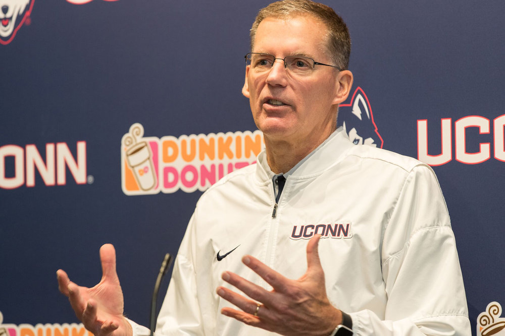 Randy Edsall, the winningest football coach in UConn's history, speaks to reporters at a press conference in the Burton Football Complex about his new recruits for the team on NCAA signing day, Wednesday, Feb. 1, 2017. (Jackson Haigis/ The Daily Campus)