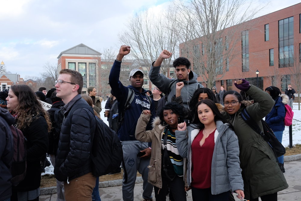 Students gathered on the steps of the Student Union on Feb. 1 for a resisTRUMP rally sponsored by Muslim Student Association. (Jon Sammis/The Daily Campus)