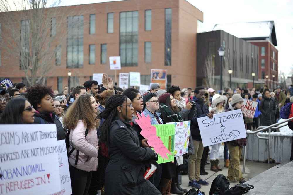 Students gathered on the steps of the Student Union on Feb. 1 for a resisTRUMP rally sponsored by Muslim Student Association. (Jason Jiang/The Daily Campus)