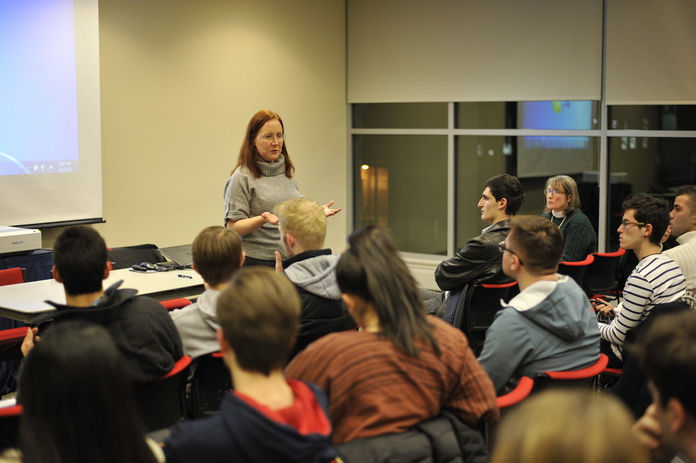 UConn Dean of Students Eleanor Daugherty talks at USG about the administration's response to President Trump's recent actions at USG caucus meeting on Feb 1, 2017 in Student Union Room 104. (Jason Jiang/The Daily Campus)
