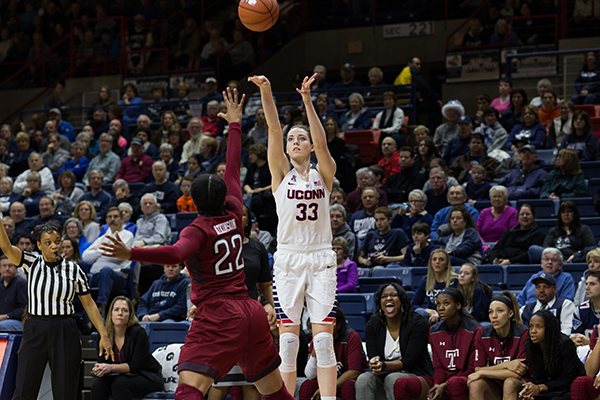 Pictured: Brianna Stewart (no. 33) versus Temple opponent Jan. 16, 2016.  The Huskies pulled off a win 104-49.  Wednesday night's game had a similar outcome with UConn winning 97-69.  (Jackson Haigis/ The Daily Campus)
